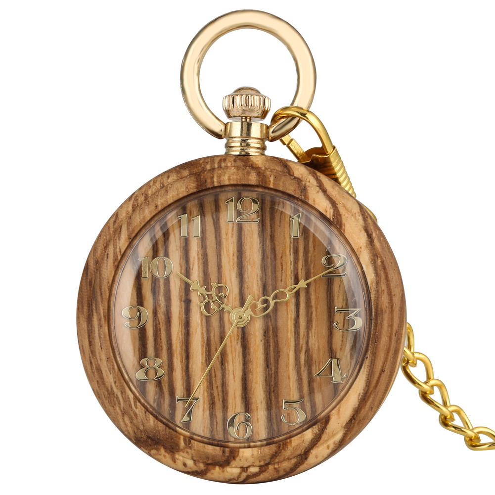 Classic Wooden Quartz Pocket Watch For Women Round Dial Pendant Chain Watches For Men
