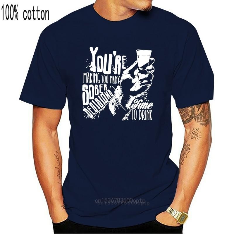 Мужская футболка TIME TO DRINK, забавная футболка с надписью jd beer водки джина