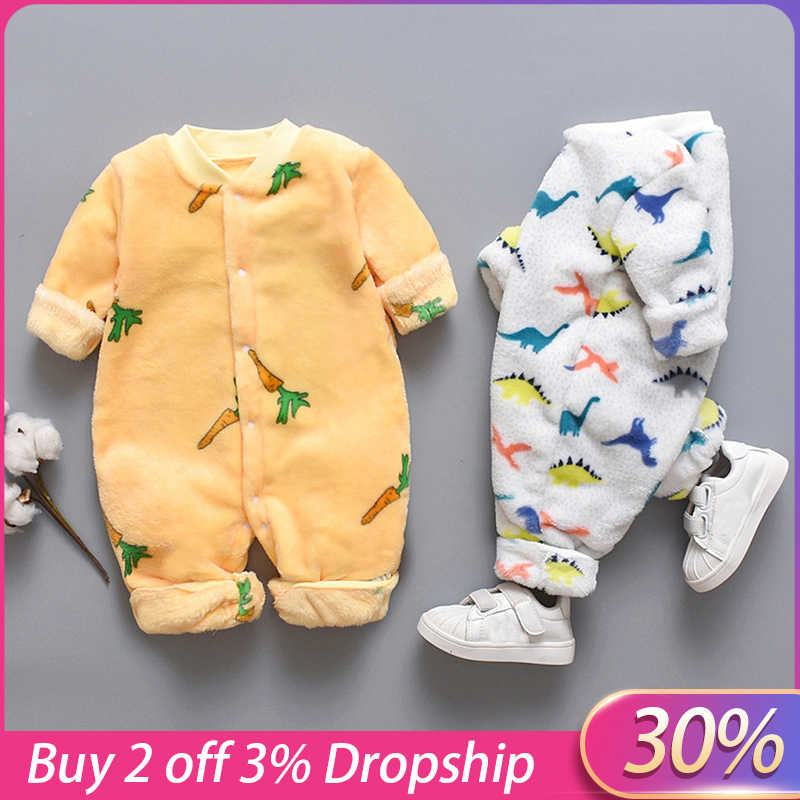2020 Autumn & Winter Newborn Baby Clothes HOt Dinosaur Print Baby Romper Warm Infant Baby Boy Girl Soft Fleece Jumpsuit Pajamas