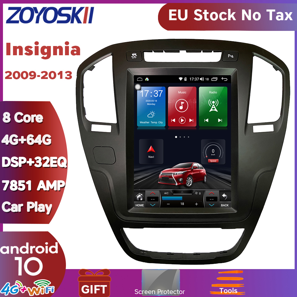 ZOYOSKII Android 8.1 9.0 Os 10.4 Inch Car Gps Multimedia Radio Bluetooth Navigation Player For Opel Insignia 2009-2013