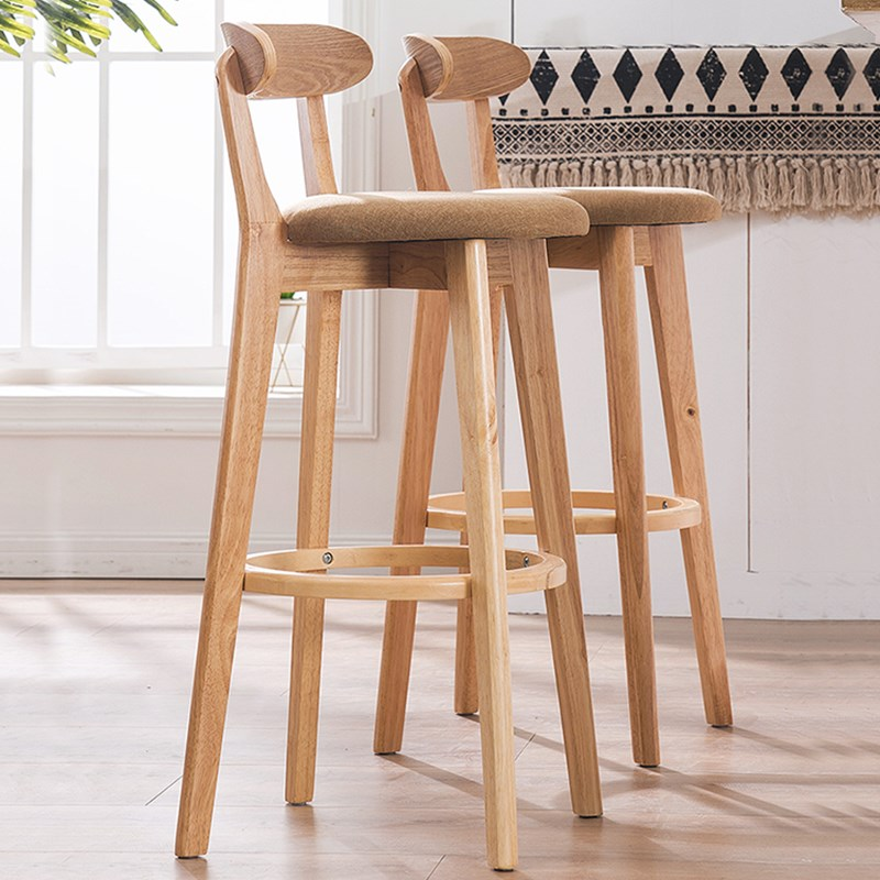 Bar Stool Nordic High Stools Backrest High Stool Modern Bar Chair Solid Wood Chair Simple Bar Stool Bar Chair