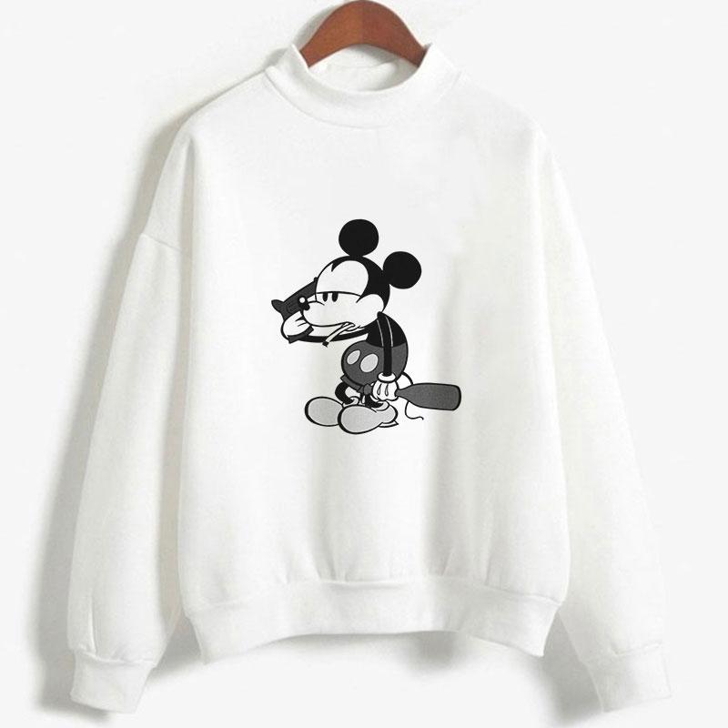 2019 New Winter Women's Hoodie Cute Mickey Mouse Cartoon Printed Casual Harajuku Kawaii Pullover Long Sleeved O-neck Sweatshirt