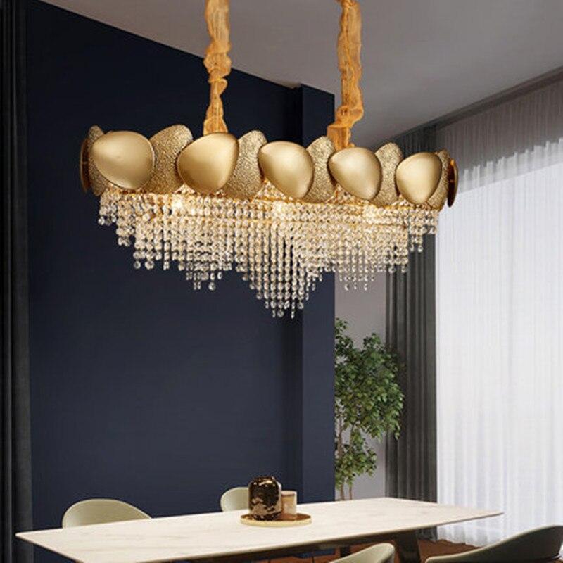 Nouveau Lustre En Cristal De Luxe Moderne Salon Salle A Manger Chambre Modele Chambre Or Lumiere Led Lustre Design Aliexpress