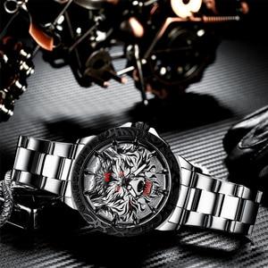 Image 5 - MEGALITH 최신 늑대 머리 양각 시계 남자 럭셔리 스테인레스 스틸 시계 방수 빛나는 남성 시계 Relogio Masculino 2020