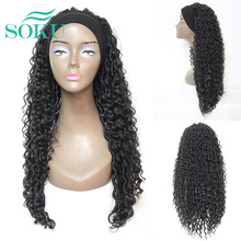 Synthetic Headband Braided Wigs Ombre Brown Color Soft Long Braiding Crochet Hair Wig SOKU Faux Locs Curly Hair For Black Women