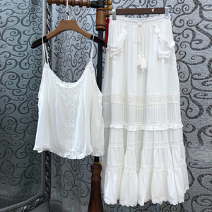 Image 5 - TEELYNN 맥시 코튼 드레스 2 조각 세트 화이트 매달려 록 레이스 드레스 민소매 브랜드 여성 드레스 비치웨어 집시 Vestidos