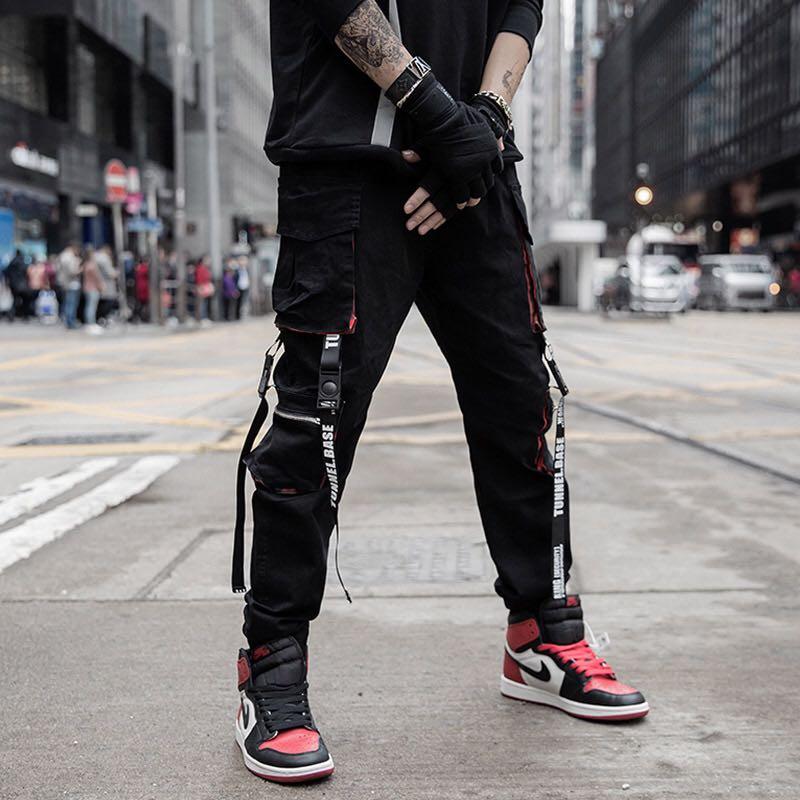 Men Hip Hop Black Cargo Pants joggers Sweatpants Overalls Men Ribbons Streetwear Harem Pants Women Fashions Trousers 2