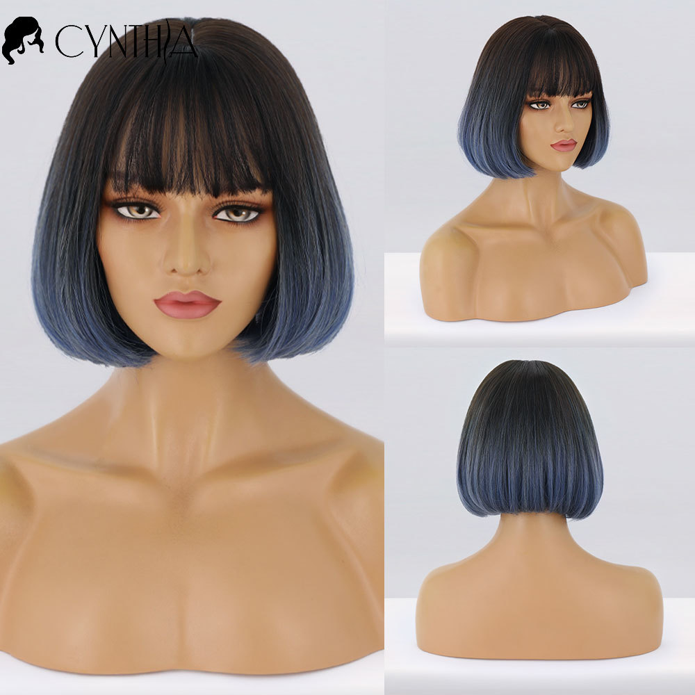 Short Straight Black To Blue Ombre Bob Daily Synthetic Wigs For Women With Bangs Heat Resistant Fiber Cosplay Hair Bob Wig