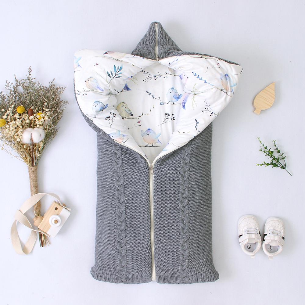 Baby Sleeping Bag Winter Infant Stroller Sleepsacks Solid Tthick Warm Envelopes For Newborn Swaddle Wrap 75*35cm Knitted Blanket