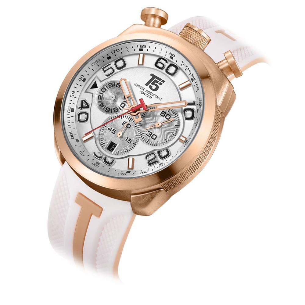 Резиновый ремешок T5 роскошные золотые черные мужские кварцевые хронограф подарок водонепроницаемые спортивные мужские часы мужские наруч...