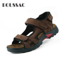 BOUSSAC Top quality sandal men sandals summer genuine leather sandals men outdoor shoes men leather sandals цена 2017
