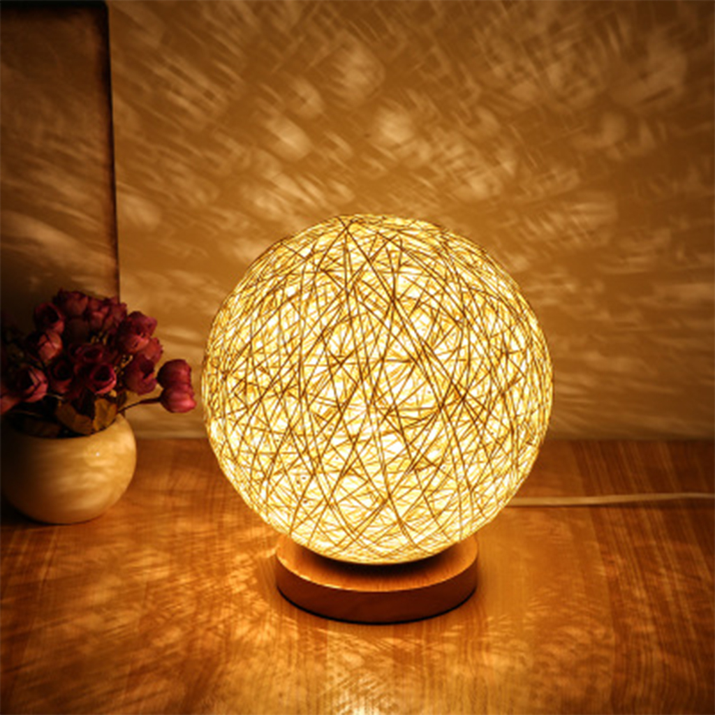 Twine Wicker Led Desk Table Lamp 220v Eu Plug Night Light Dimmable Bedside Lamp Bedroom Decoration Desk Lamp Creative Gift Aliexpress Com Imall Com