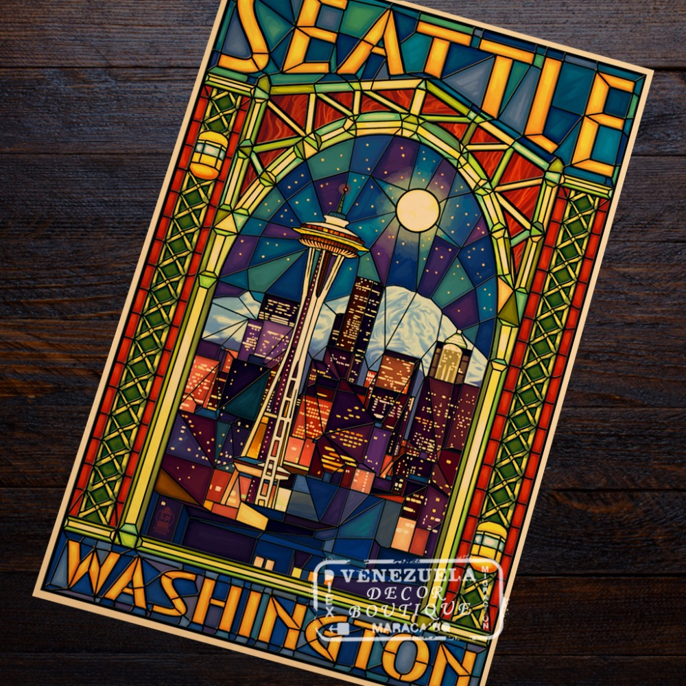 Pop Art America Seattle Washington DC Retro Vintage Kraft Travel Poster Canvas DIY Wall Sticker Home Bar Posters Decoration image