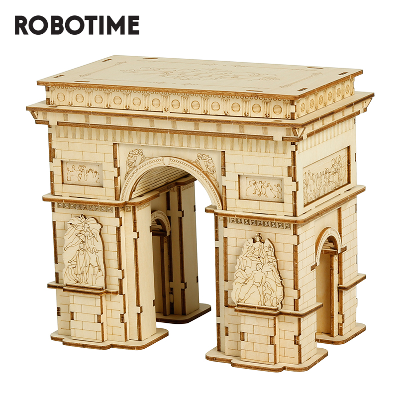 Robotime 3D Wooden Puzzle Game Arc De Triomphe Model Toys For Kids Children Gift TG502 Rolife