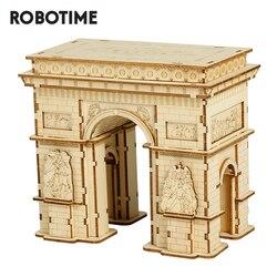 Robotime 3D Houten Puzzel Spel Arc De Triomphe Model Speelgoed Voor Kids Kinderen Gift TG502 Rolife