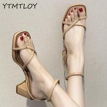Women Sandals Summer Shoes Peep Toes Ankle Strap Woman Party Shoes Brand square Heel Sandals Female Beach Shoes Calzado Mujer