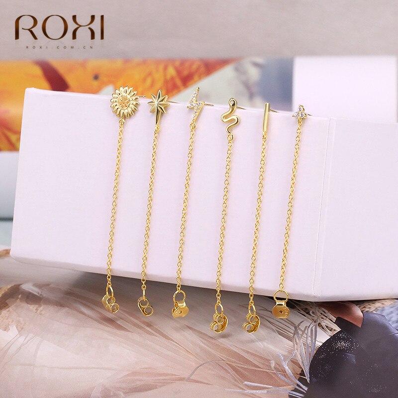 ROXI 925 Sterling Silver Statement Earrings Geometric Bar Daisy Star Snake Earrings For Women Hanging Dangle Earring Drop Earing