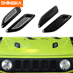 SHINEKA Black/Silver Car Front Hood Air Vent Fender Outlet Decoration Cover for Suzuki Jimny 2019 2020 Exterior Accessories