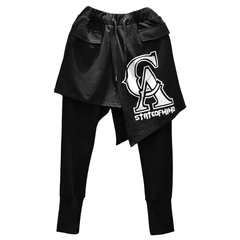 Mode décontracté Punk Cross pantalon cheville longueur pantalon hommes haute rue Hip Hop danseur Harem pantalon 2 pièces épissure mâle - 5