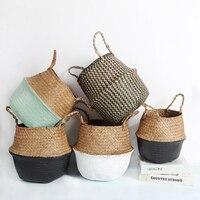 Cestas de armazenamento lavanderia seagrass cestas de vime pendurado vaso de flores cestas de armazenamento flor casa pote panier cesta de osier para brinquedos