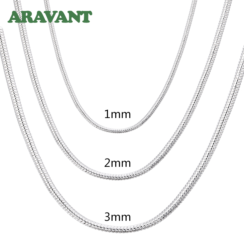925 Silver 1MM/2MM/3MM Snake Chain Necklace For Men Women Silver Necklaces Fashion Jewelry|Chain Necklaces|   -
