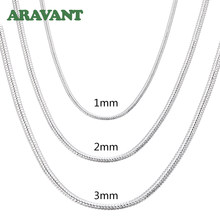 Collar de cadena de serpiente para hombre y mujer, plata 925, 1MM/2MM/3MM, collares de plata, joyería de moda