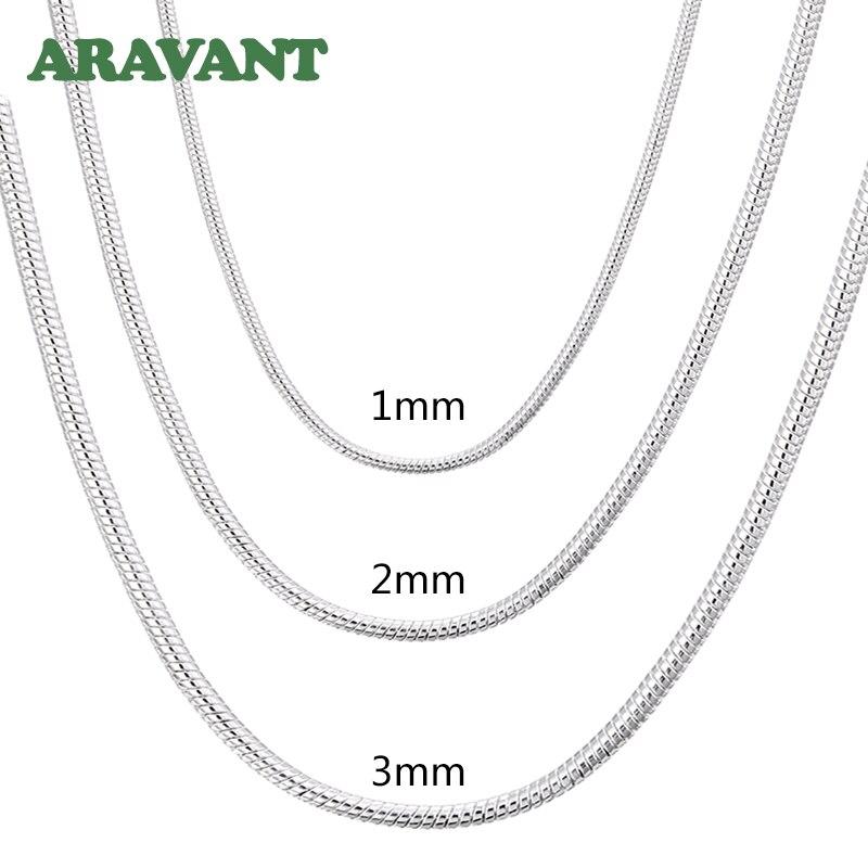 925 srebrny 1MM/2MM/3MM wąż łańcuszkowy naszyjnik dla mężczyzn kobiety naszyjniki srebrne biżuteria