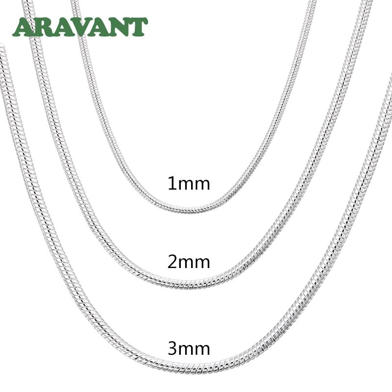 Collar de cadena de serpiente para hombre y mujer, de plata 925 de 1MM/2MM/3MM, collares de plata, joyería