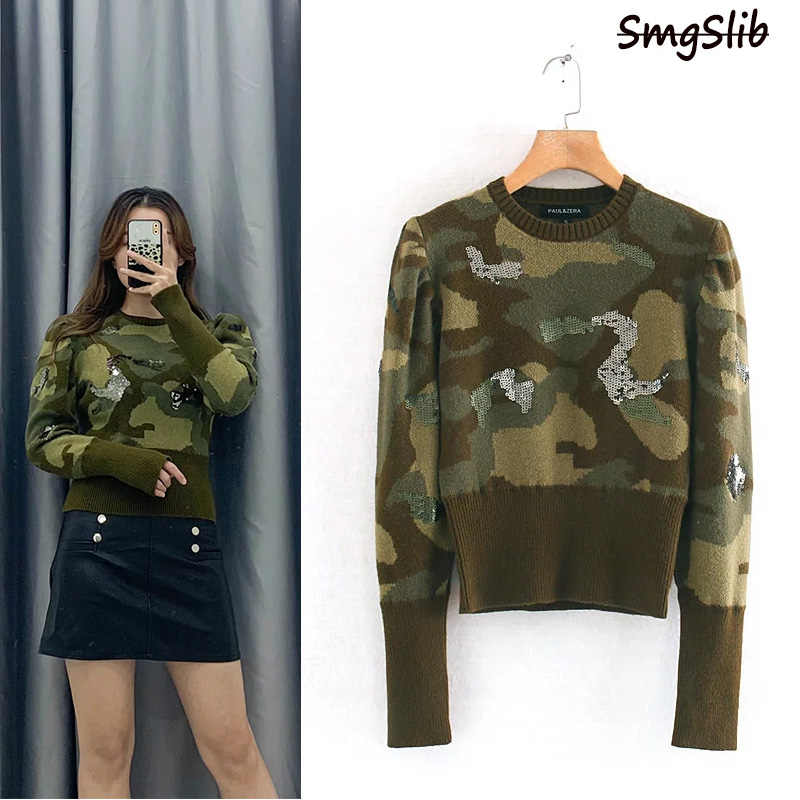 women's camouflage embroidery sweater 2019 New Winter Round Neck O-Neck Pullover And Jumper  Hot Sale clothes women