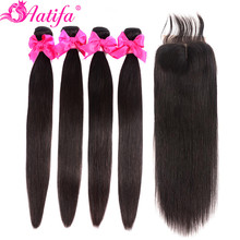 Malaysian Hair Bundles With Closure Straight Remy 100% Human Aatifa