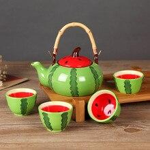 5pcs/set Ceramic Tea Set Kung Fu Cup T Watermelon Tea Set Drinkware Set Fruit Shape Teapot Suit tangpin coffee and tea tool copper tea strainers kung fu tea accessories