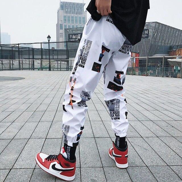 Hip hop Pants Men Loose Joggers Print Streetwear Harem Pants Clothes Ankle length Trousers 24
