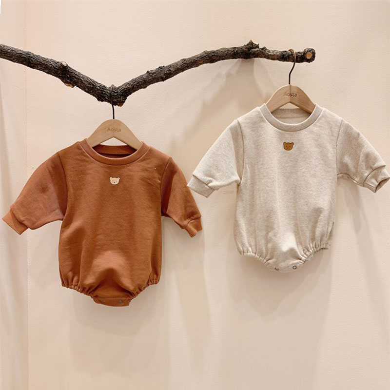 2020 New Baby Clothes Cartoon Bear Boys Girls Bodysuit Long Sleeve Jumpsuit Clothes Cotton Baby Girl Clothing