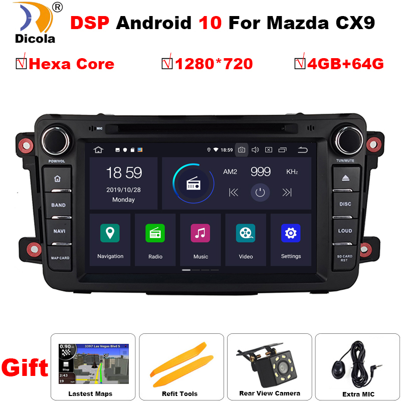 4+64G 1280*720 Hexa Core PX6 Android 10 Car DVD Player GPS Navigation audio For <font><b>Mazda</b></font> CX9 <font><b>CX</b></font> <font><b>9</b></font> <font><b>CX</b></font>-<font><b>9</b></font> Car Radio stereo multimedia image