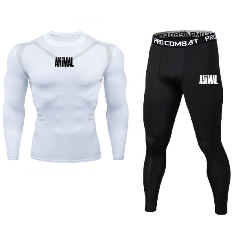 Men's Compression Running Set Tight Legging Shirt Pant Long Sleeves Shirt Teenager Tracksuit Suit Man Sportwear Quick Dry Tshirt