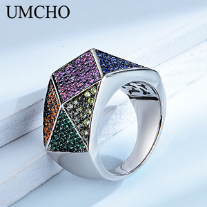 UMCHO Created Special Pattern 925 Sterling Silver Design Rings for Women Wedding Bands Engagement Gift Fine Jewelry Party Gift(China)
