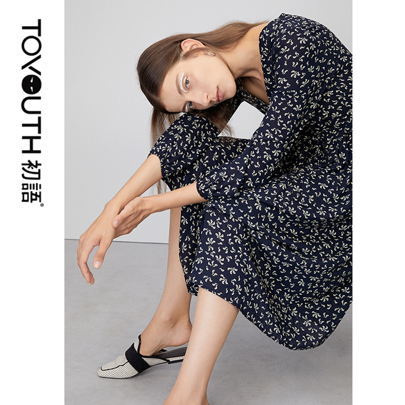 Toyouth 2020 New Arrival Sping Summer V-Neck Small Flowers Printed Dress Female Long Lantern Sleeve Chiffon Dresses For Women