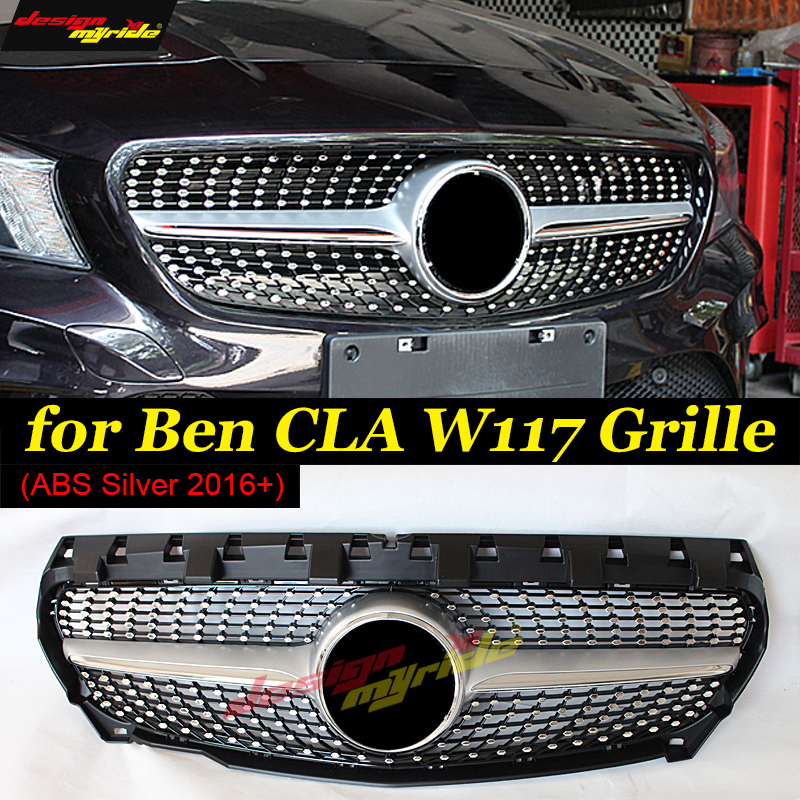 CLA-W117 Diamond grille ABS Silver Fits For MercedesMB W117 CLA200 CLA250 CLA180 CLA45 Sports Front Grills Without sign 2016-in