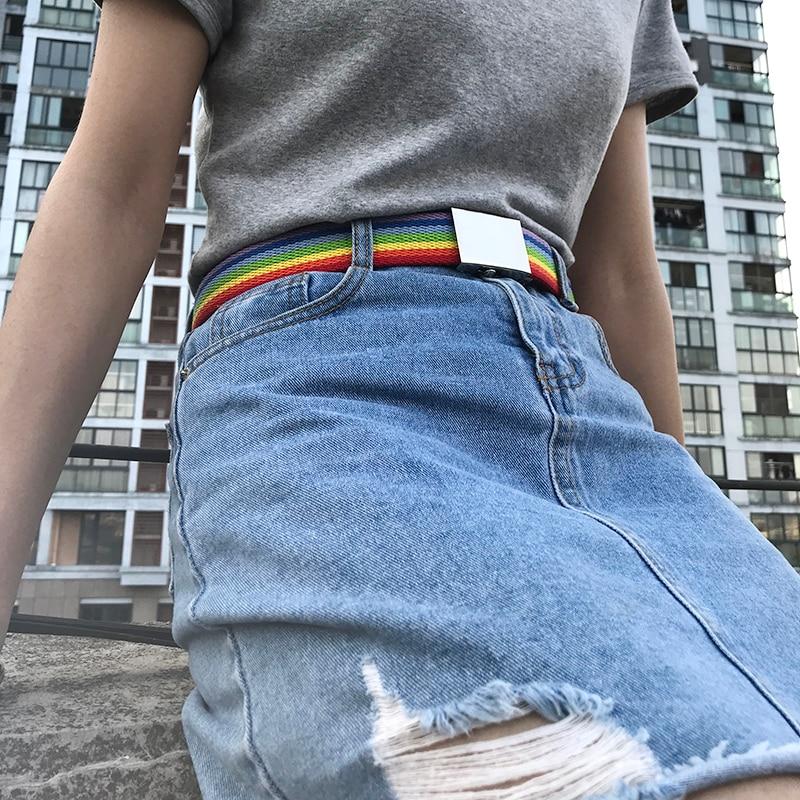 Fahion Rainbow Color Strap Couple Belt Thin Canvas Men Women Belt Waistband Iron Square Automatic Buckle Mirror 2019 New Cinto