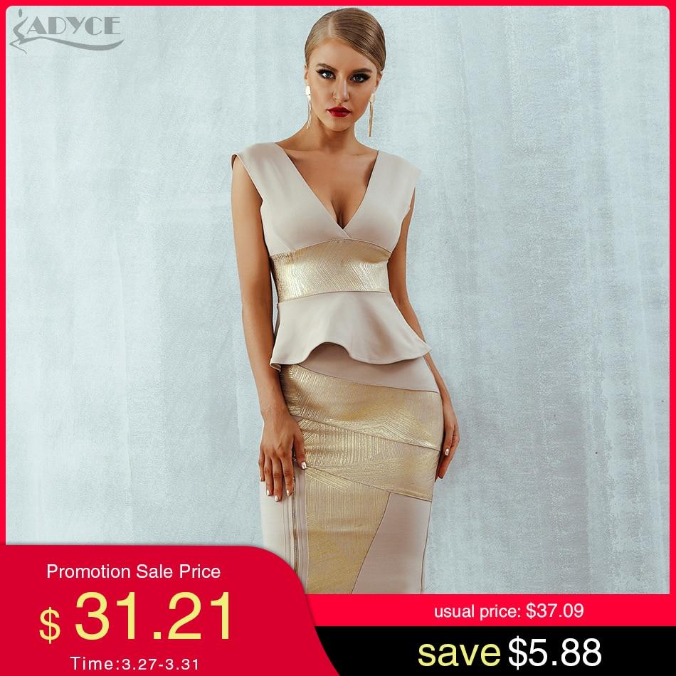 Adyce Ruffles Celebrity Party Dress 2020 New Summer Women Bodycon Set Sleeveless V-Neck Front Zipper Bandage Dress Women Vestido