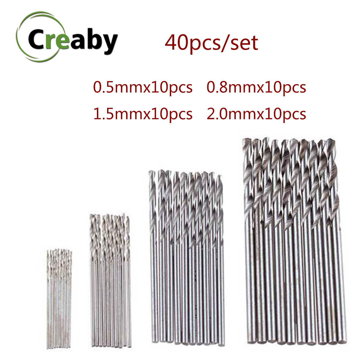 40pcs/set 0.5-2.0mm High Speed Steel HSS Mini Twist Drill Bits Set  Straight Shank For Woodworking Aluminum PCB Plastic