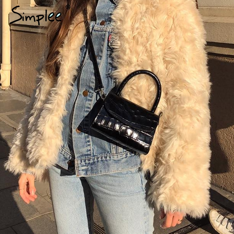 Simplee  Retro Women Shoulder Bag Luxury Plaid Pocket Leather Bags Office Lady Autumn Winter Work Wear Black Crossbody Hand Bag