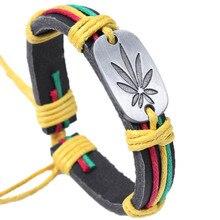 Colorful maple leaf bracelet, personality bracelet, fashion bracelet, leather jewelry shop, popular cross-border jewelry charming rhinestone leaf cross bracelet