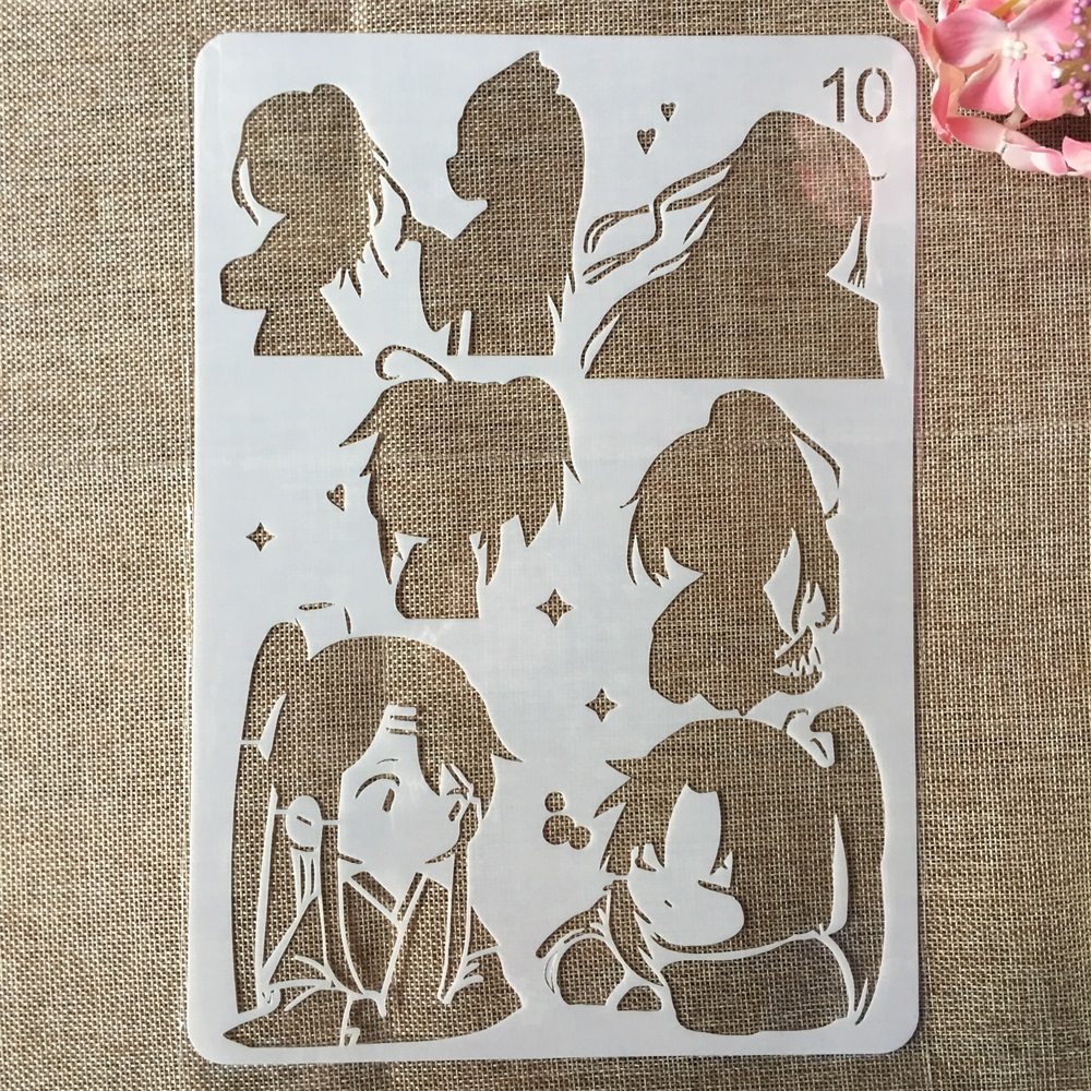 29cm A4 Cute Chinese Traditional Girl DIY Craft Layering Stencils Painting Scrapbooking Stamping Embossing Album Card Template