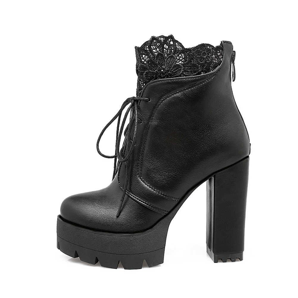 2020 ใหม่ขนาดใหญ่ 32-43 Elegant ลูกไม้แพลตฟอร์มรองเท้าผู้หญิง 2020 ฤดูหนาวเพิ่มขนสัตว์รองเท้าส้นสูงรองเท้าบูทผู้หญิง