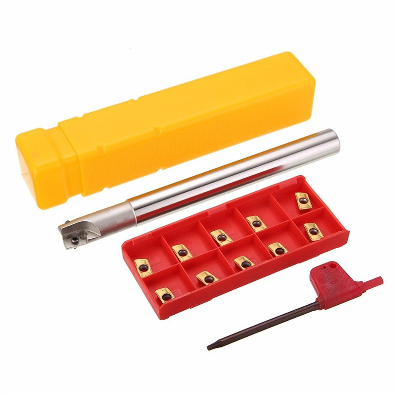 1pc 150mm Shank Lathe Turning Tool Holder 300R C14-14-150 Boring Bar + 10pcs APMT1135PDER Inserts With T8 Wrench