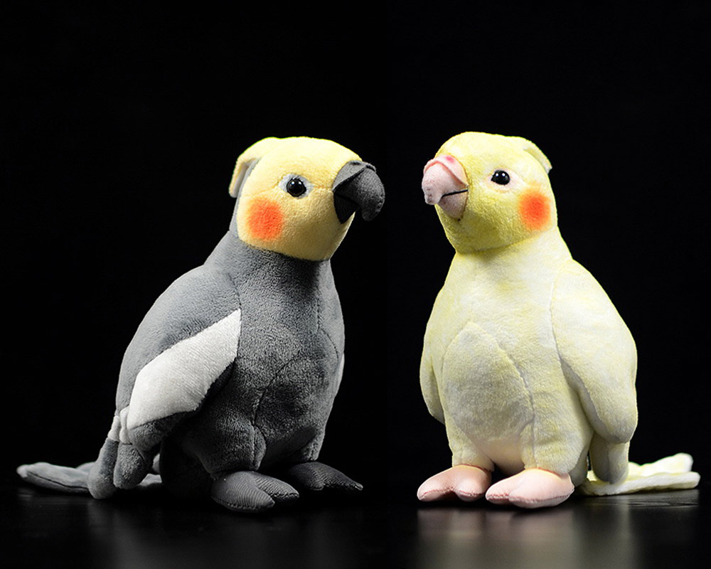 18cm Small Real Life Yellow Cockatiel Plush Toys Extra Soft Parrot Stuffed Birds Animal Toy Christmas Gifts For Kids