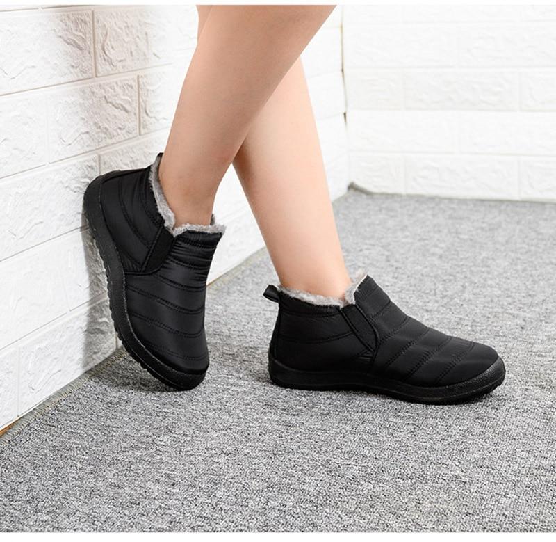 Snow Boots Women Shoes Warm Plush Fur Ankle Boots Winter Female Slip On Flat Casual Shoes Waterproof Ultralight Footwear 23
