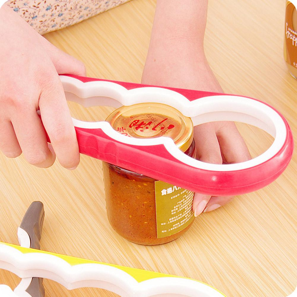 TPFOCUS Bottle Opener 4 In 1 Multifunction Non Slip Kitchen Bottle Can Jar Opener Small Exquisite Appearance Soft Rubber