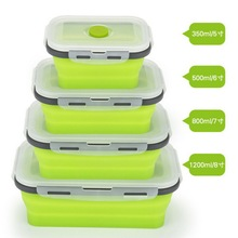 DHL 10 Набор 4 шт./компл. силиконовая складная коробка Bento складная переносная коробка для ланча для еды посуда контейнер для продуктов миска